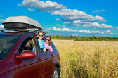 Vacances en famille, voyage en voiture sur l'été — Photo