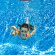 Happy active child swims underwater in pool — Stock Photo #41784371