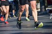 Marathon running race, people feet on road, sport — Stock Photo