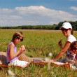Mother and two kids having picnic — Stock Photo