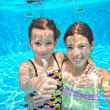 Happy active kids play underwater in swimming pool — Stock Photo #50136893