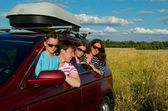 Car travel on family vacation — Stock Photo