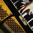 Piano music pianist hands playing — Stock Photo