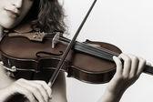 Violin musical instrument violinist hand — Stock Photo