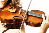 Violin musical instruments violinist hand — Stock Photo