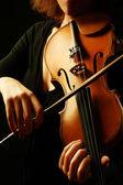 Violin orchestra instruments violinist hands — Stock Photo