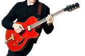 Guitar electric Guitarist playing — Stock Photo