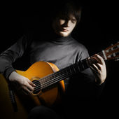 Acoustic guitar guitarist playing — Stok fotoğraf