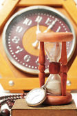 Hourglass and clock old watches — Stock Photo
