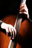Cello playing hands details — Stock Photo