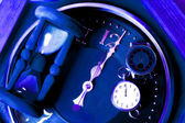 New year decoration with clock watch hourglass — Stock Photo
