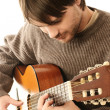 Acoustic guitar playing details — Stock Photo