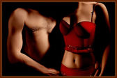 Nude couple. Sexy erotic red lingerie — Stock Photo