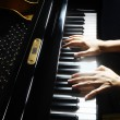 Piano hands pianist playing — Stock Photo
