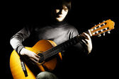 Acoustic guitar player guitarist — Stock Photo