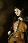 Cello orchestra player — Stock Photo