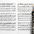 Musical instruments music sheet notes oboe — Stock Photo