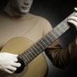 Acoustic guitar playing details — Stock Photo #45353935
