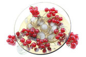Red currant in a glass plate — Stock Photo