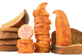 Sausage with bread — Stockfoto