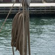 Nautical ropes and pulley on a sail boat — Stock Photo
