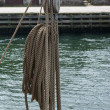 Nautical ropes and pulley on a sail boat — Stock Photo #13291064