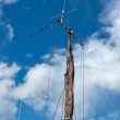 Foresail, Jib, and Wooden Mast of a sailing yacht — Stock Photo