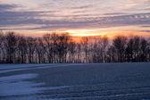 Piękne zimowe dramatyczny zachód słońca — Zdjęcie stockowe