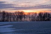 Pôr do sol de inverno dramática linda — Foto Stock