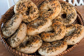 An assortment of fresh bagels — Stock Photo