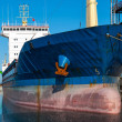 Cargo container ship in the harbor — Stock Photo