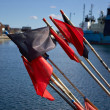 Fisherman flags on fishing boat — Stock Photo