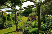 Pergola gazebo in a beautiful garden — Photo