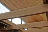 Wood beams inside a building — Stock Photo