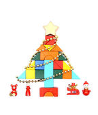 Toy christmas tree with decorations — Stock Photo