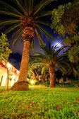 Night view in a tropical resort — Stock Photo