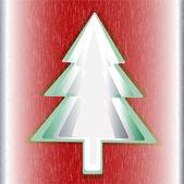 红色背景绿色的圣诞树 — 图库矢量图片