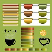 Set of tea vintage vector — Stock Vector