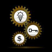 Gears gold teamwork template — Stock Vector