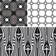 Patterns different vector seamless black — Stock Vector