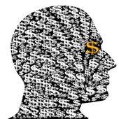 Silhouette of man dollar — Stock Vector