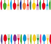 Cutlery colorful background — Stock Vector