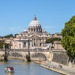 View of St. Peter's Basilica and the Sant'angelo bridge — Stock Photo #45746589