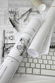 Project plans on the table — Stock Photo