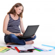 Pregnant woman - work from home — Stock Photo