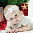 Christmas baby girl — Stock Photo