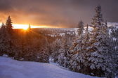 Sunrise near Praded mountain in Czech Republic — Stock Photo