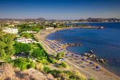 View of Faliraki excellent beach, Rhodes island — Stock Photo