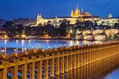 Charles Bridge and Prague Castle from Lavka — Stock Photo