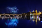 New year Fireworks in Prague, Czech Republick — Stock Photo